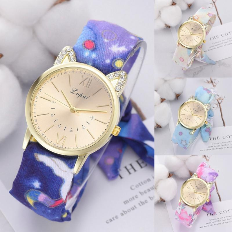 Forceful Lvpai Cloth Strap Floral Print Band Quartz Watch Cute Dial Pattern Female Watches Watches