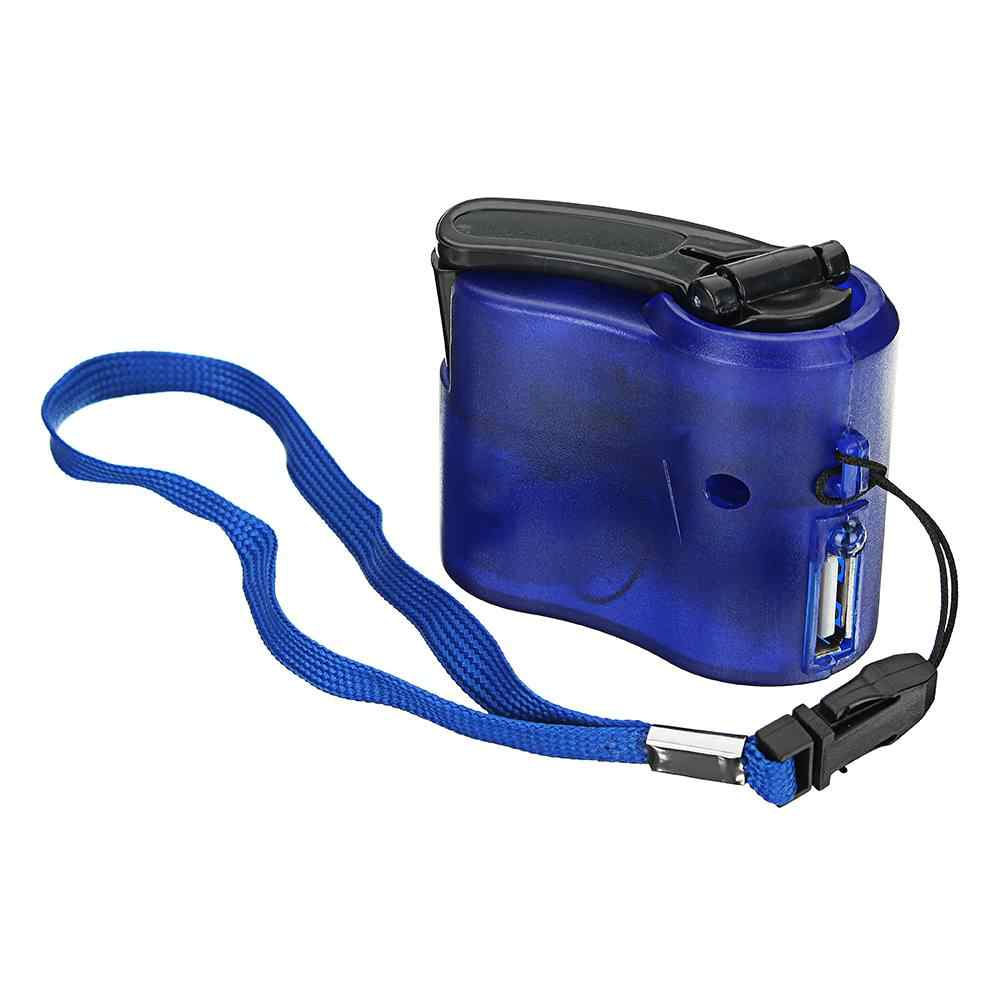 Portable USB Hand Cranked Power Generator Outdoor Emergency Digital Display Phone Charger Manual Shake Energy Charger Blue