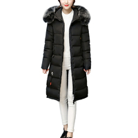 Big Real Fur Winter Jacket 2018 Women Coat Warm Slim Thick Long Parkas Raccoon Fur Collar Hooded Coats Female Jackets Manteau