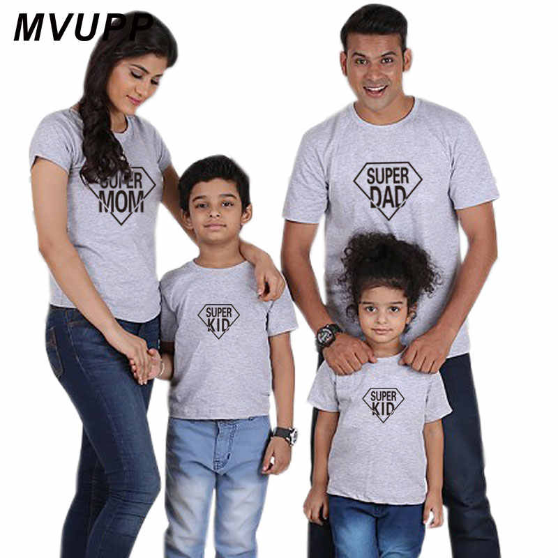 ad0fd7e0 ... Super dad mom kids print t shirt mother daughter clothing mommy and me  matching outfits women ...