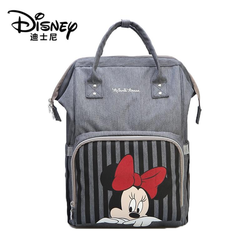 Disney Mickey Minnie Travel Mummy Backpack  Maternidade Waterproof Stroller Bag USB Baby Bottle Warmer Diaper Bag Backpack