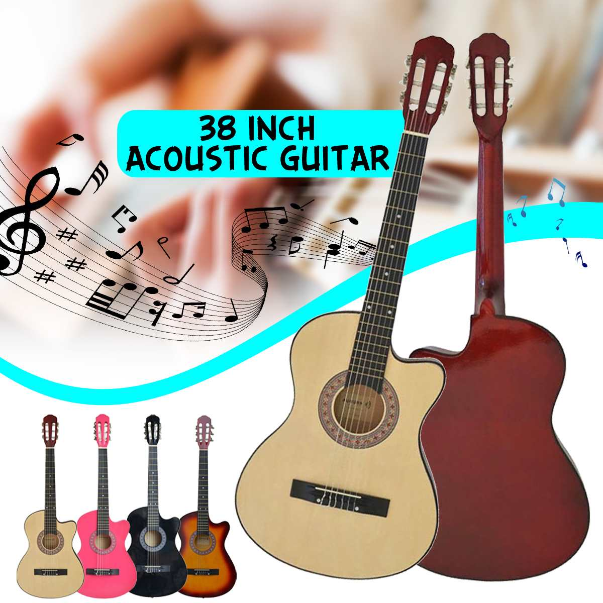 38 Inch Acoustic Guitar Beginners Getting Started Practicing Stringed Instruments title=