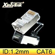 Xintylink rj45 موصل cat6 القط 6 المكونات 8p8c stp rg rj 45 lan محمية مطلية بالذهب شبكة إيثرنت كابل جاك 1.2 مللي متر حفرة كبيرة
