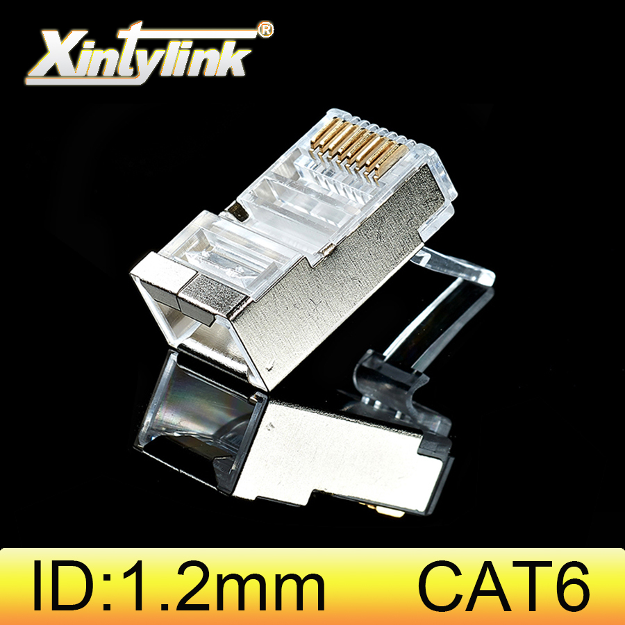 xintylink rj45 connector cat6 cat 6 plug 8p8c stp rj 45 male shielded gold plated network ethernet cable jack 1.2mm 50pcs 100pcs-in Computer Cables & Connectors from Computer & Office