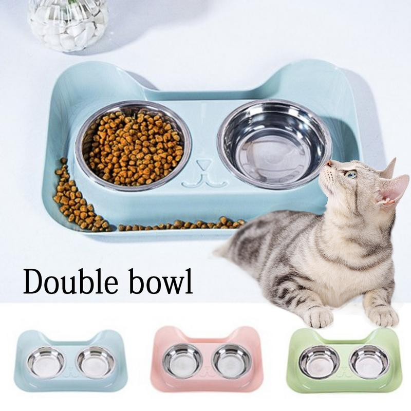 Cats Bowl Double Stainless Steel Pet Bowls PC Durable Non-slip Design Pet Food Water High Feeder For Cat Dog Pet Products New Миска