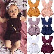 Новое поступление; цельнокроеная одежда с оборками для маленьких девочек; летний детский комбинезон без рукавов для новорожденных; комбинезон; пляжный костюм