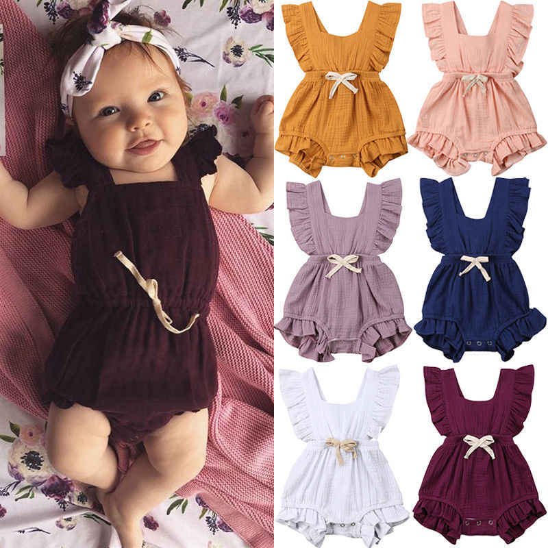 New Arrivels Baby Girls Ruffle One-Pieces Clothes Summer Newborn Kids Sleeveless Romper Jumpsuit Outfits Sunsuit