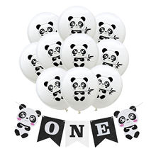 ZLJQ Baby First Birthday Black Chair ONE Year Panda Banner 1st Birthday Party Decoration Boy Girl Baby Shower Balloon Supplies 7(China)