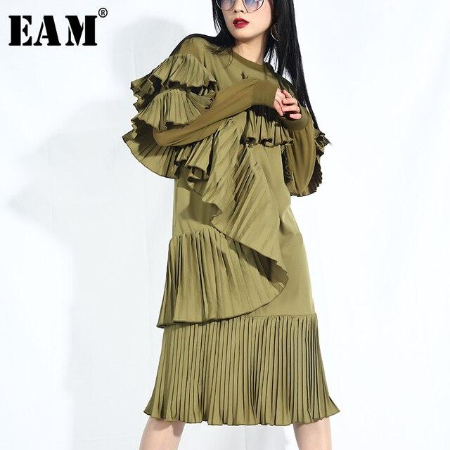 [EAM] 2019 חדש אביב קיץ עגול צוואר ארוך שרוול רופף קפלי קפלים שיפון תפר שמלת טמפרמנט נשים אופנה JO28