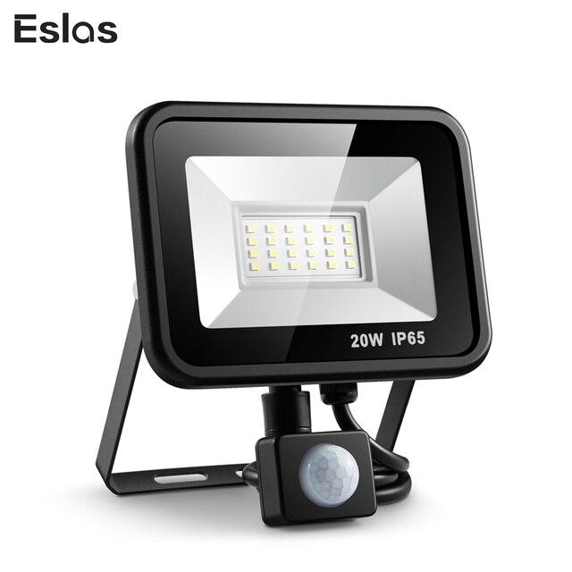 Eslas Outdoor Schijnwerper 10 W 20 W Refletor LED Schijnwerper Zoeklicht Met Pir Motion Sensor 220 V Waterdichte Muur garage Licht