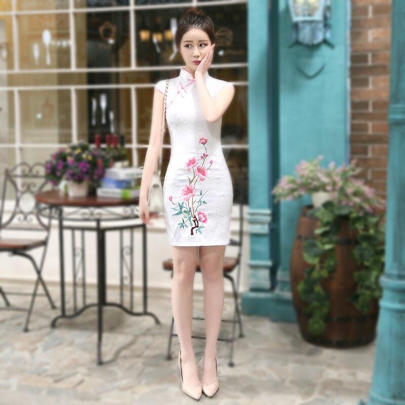 Vestido feminino estilo chino borda rosa curto qipao bordado flor algodão cheongsam vestido tang traje em pó de alta qualidade xl