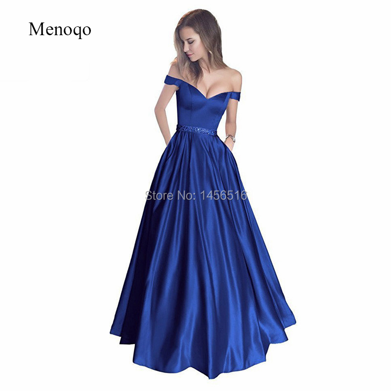 2019 New Off Shoulder   Prom     Dresses   Long vestido de festa Satin Beaded A-Line Formal Evening Party   Dress