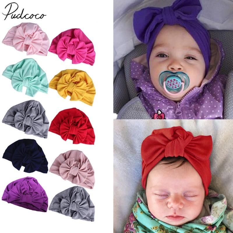 2019 Brand New Newborn Baby Kids Boys Girls Soft Turban Cap Beanie Solid Bow Knot Wrap Hats Milk Fiber Beanis Baby Gifts