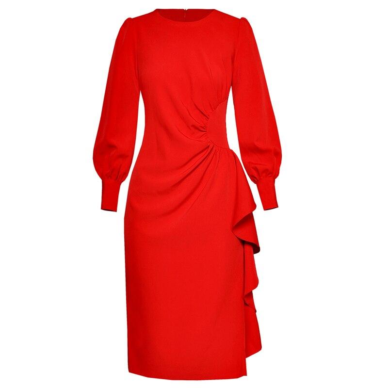 Office D'affaires Robes Haute Rouge Noir Volants rouge Femme Ruché Longues noir Solide Taille Lady Lanterne À Couleur Robe Manches Printemps Ofqw6gWAB