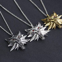 New The Witcher 3 Necklace Men Jewelry Long Necklaces Big Wolf Head Necklace Pendant Chain Personalized Gold Necklaces Christmas(China)