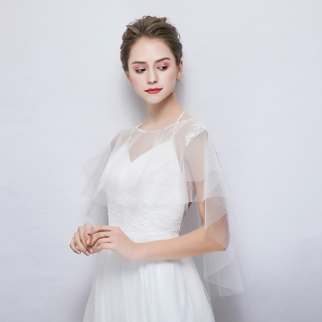 3545364d68 Two Layers Tulle Wrap White Applique Beaded Summer Sheer Cape Women Soft Cover  Up Wedding Bridal Dress Accessories Handmade New