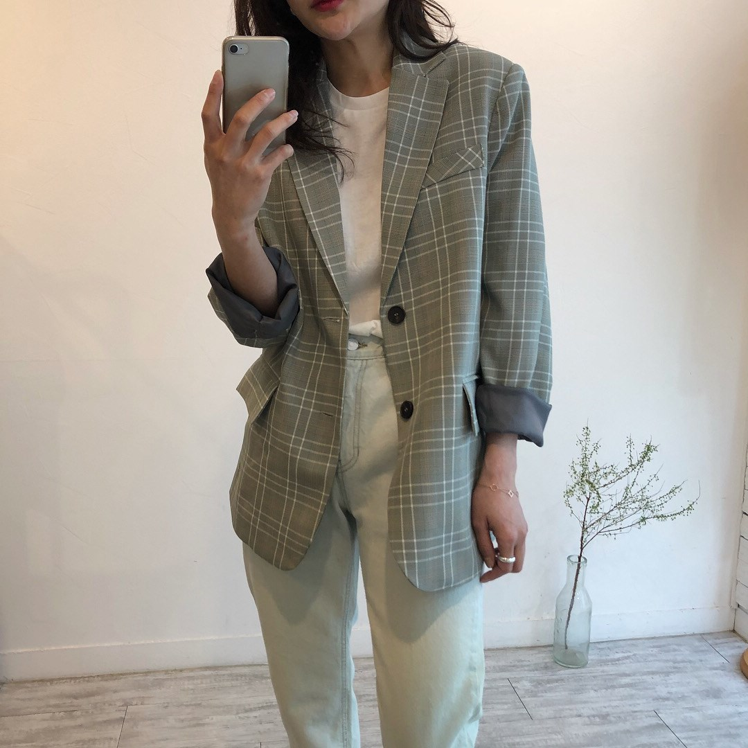 2019 Spring Autumn Loose Casual Blazer Women Single Button Long Sleeve Outerwear Lady Plaid Blazers