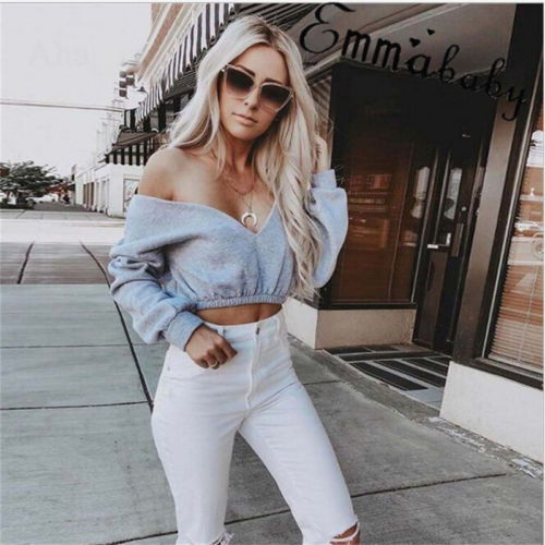 Loose Tops Long Sleeve V-neck Shirt Casual Blouse Bare Midriff Shirt Fashion Blouses Women's Ladies Summer Clothes