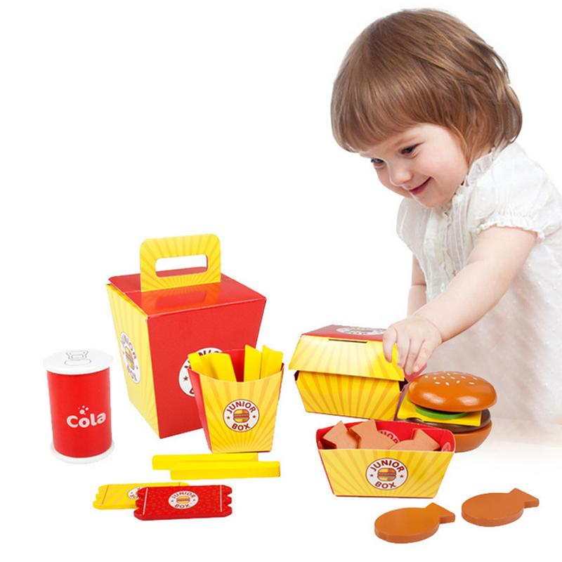 Children Hamburgers Pretend Play Food Toy Wooden Fast Food Burger Fries Food Toy Set Fast Food Deluxe Dinner Set