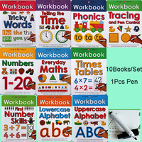 10 Books/Set Wipe Clean Workbooks Learn ABC Alphabet/Times/Maths/Number Tricky Phonics Words Children Kids English Writing Book