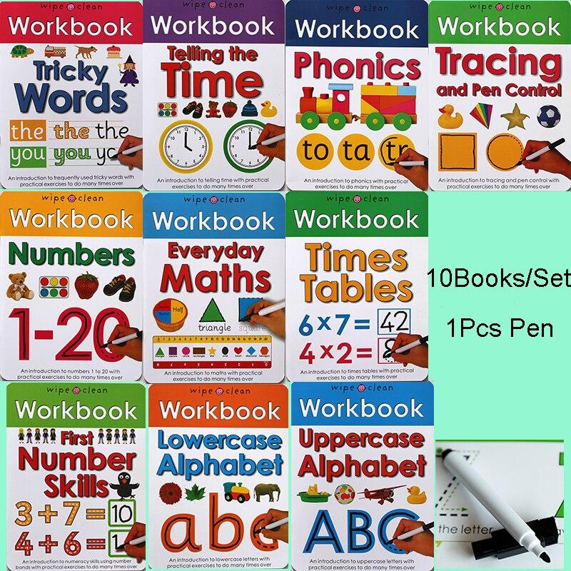 10 livres/ensemble nettoyer les classeurs apprendre l'alphabet ABC/fois/Maths/nombre mots phoniques délicats enfants livre d'écriture anglais