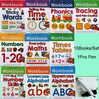 10 livros/Set Limpar Livros Aprender ABC Alphabet/Vezes/Matemática/Número Complicado Palavras Fonética Crianças crianças Livro de Escrita Em Inglês