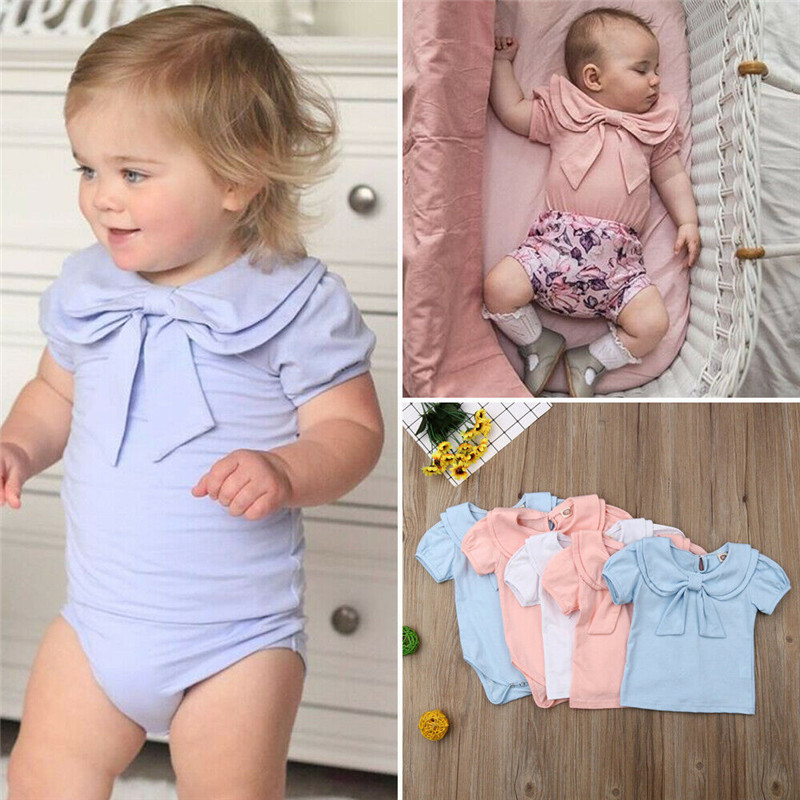 PUDCOCO Hot Newest Little Sister Baby Girls Solid Peter Pan Collar Romper Jumpsuit  Summer Outfits Casual Cute Clothes 0-24M