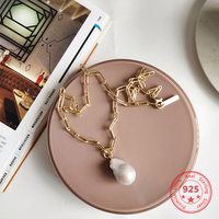 Pure 925 Silver European American New Design Creative Concise Baroque Pearl Charms Gold Link Chain Necklace Fine Jewelry