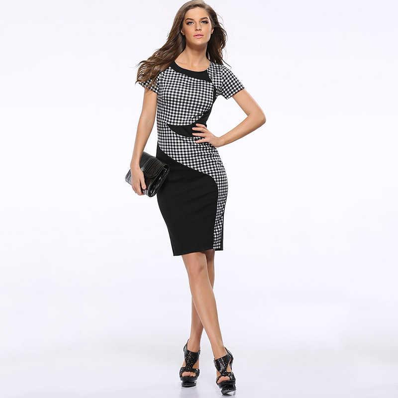 חדש לבוש הרשמי נשים עבודה שחור לבן משובץ שמלות אישה 2019 אלסטי Slim שמלת נשים משרד בתוספת גודל המפלגה שמלות נשים של