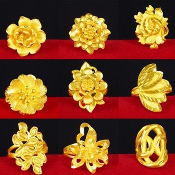 2019 Popular anillo de arena vietnamita abierto de oro para mujeres delicado flor 3D No se decolora anillos de nudillos de puño chapado para mujeres bienes inusuales