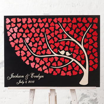 Custom 3D Wedding Guest Book Alternative Wood, Personalized Guest Book Tree, Hearts Guestbooks Ideas, Unique Couple Wedding Gift