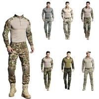 Mens Army Military Uniform Camouflage Tactical Combat Suit Airsoft CS War Game Clothing Shirt + Pants Elbow Knee Pads