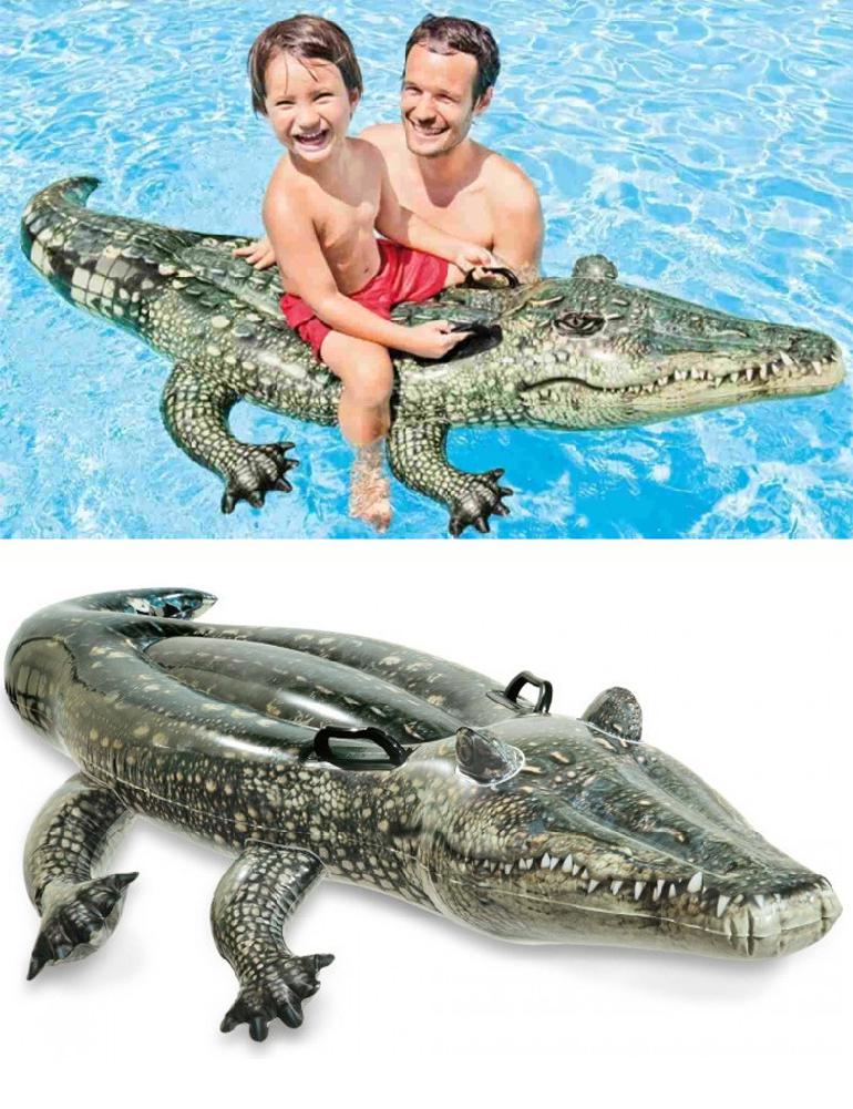 Kids Cool Crocodilian Shape Large Water Floating Toy Swimming Ring For Outdoor