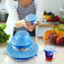 6Pcs Silicone Suction Wraps Seal Cover Stretch Cling Film Food Fresh Keep Wraps Placemat Lid-bowl Kitchen Fresh Wraps