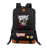 aniem game Cuphead backpack Mochila teenagers Shoulder bag travel School student book Bag Casual Laptop bagpack