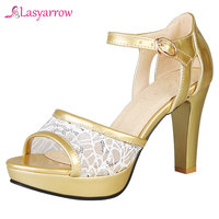 Lasyarrow 2019 Summer Bride Wedding Party Shoes Gold High Heels Peep Toe Sandals Women Lace Bling Platform Lady Sandal J767