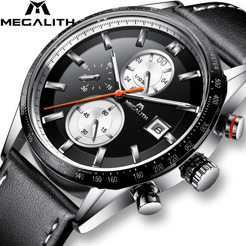 MEGALITH montre-bracelet de mode pour hommes Top marque montre de luxe étanche sport Chronograp montres en cuir noir pour horloge masculine
