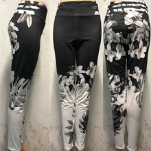 2019 new fashion exercise fitness ladies sportswear tight-fitting printed high waist pants