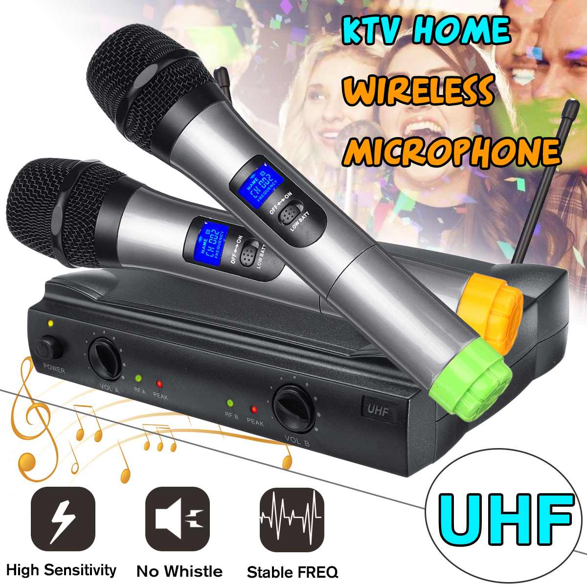 UHF Long Range Dual Channel 2 Handheld Mic Transmitter Professional Karaoke Stage Speakers UHF Wireless Microphone SystemUHF Long Range Dual Channel 2 Handheld Mic Transmitter Professional Karaoke Stage Speakers UHF Wireless Microphone System