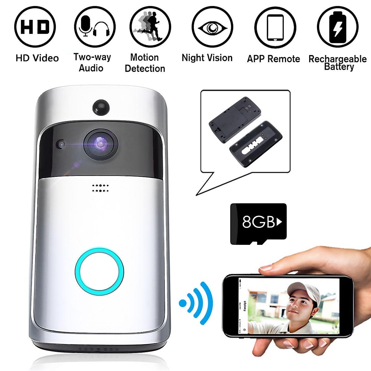 Sans fil WiFi vidéo sonnette caméra IP anneau porte cloche bidirectionnelle Audio APP contrôle iOS Android alimenté par batterie