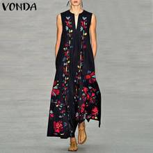 VONDA Bohemian Women Floral Printed Dress 2019 Summer Sexy Sleeveless Party Long Shirt Dress Femme Casual Vestidos Plus Size