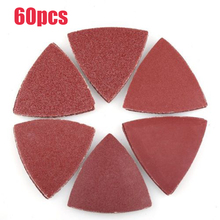 цены 60pcs Triangle Sanding Pads For Oscillating Multitool Hook & Loop Sandpapers Set