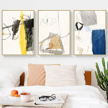 Minimalist Color Block Geometric Line Graphic Color Canvas Painting Art Print Poster Picture Wall Home Decoration