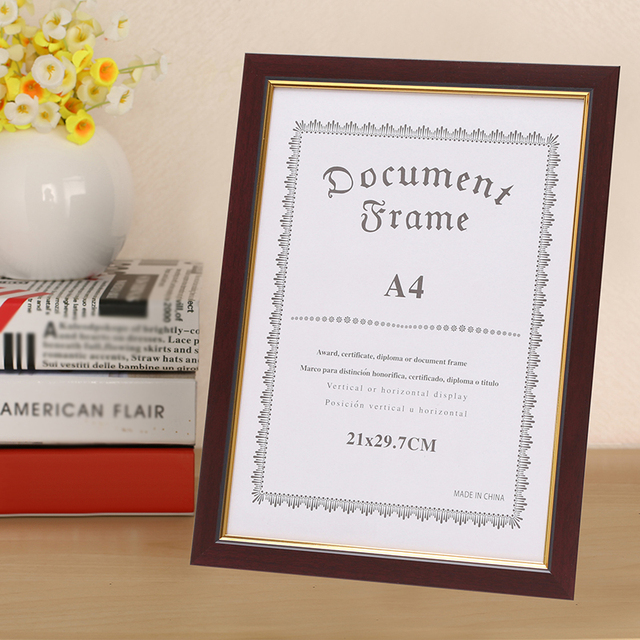 A4 Wall PVC Plate Certificate Frame Photo Poster With Hook Home Decor 24*32.7cm