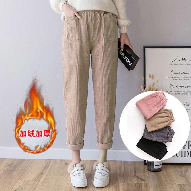 Thickening Corduroy Women's Cotton Plus Size   Pants     Capris   Woman Korean Autumn And Winter Student Leisure
