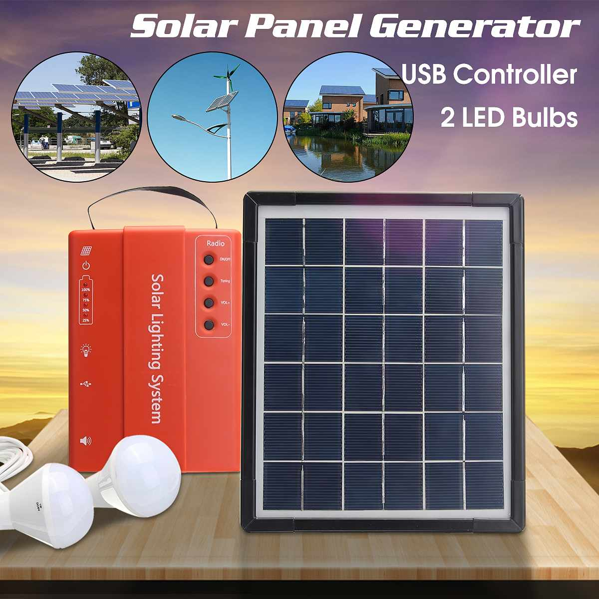 5W 9V USB Solar Panels Lighting Storage System Portable Outdoor DC Charging Power Bank Generator With 2LED Bulbs Light