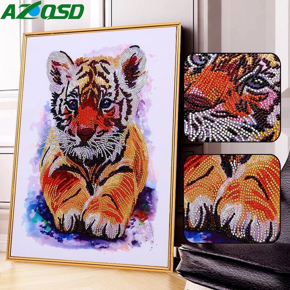 AZQSD Diamond Painting Tiger Full Kits Special Shaped Diamond Mosaic Animal Handicraft Partial Drill Kid Room Decor 40x50cmAZQSD Diamond Painting Tiger Full Kits Special Shaped Diamond Mosaic Animal Handicraft Partial Drill Kid Room Decor 40x50cm