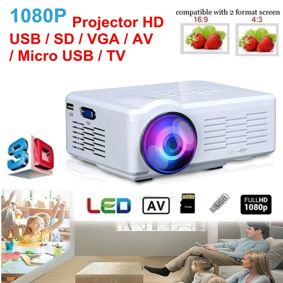 Projecteur U35 mini projecteur LED USB/SD/VGA/HDMI/AV LED projecteur Portable HD pour Home CinemaProjecteur U35 mini projecteur LED USB/SD/VGA/HDMI/AV LED projecteur Portable HD pour Home Cinema