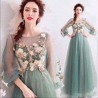 Luxury Green Emboridery Beaded Long Sleeve Dresses Women Slash Neck A Line Mesh Red Carpet Evening Party Dress Plus Size 3XL