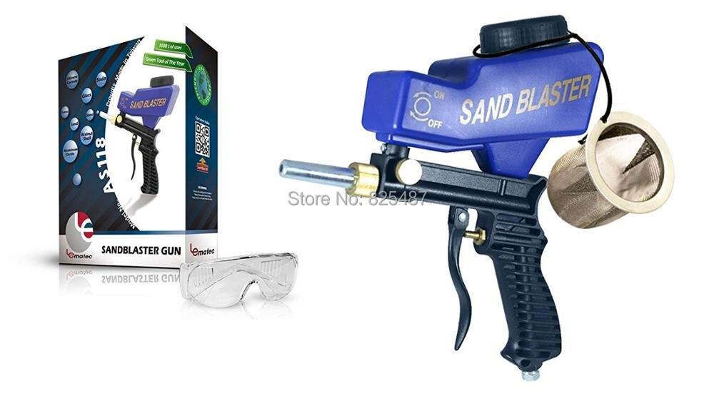 LEMATEC Gravity Feed Pistola Jateamento Mídia Jateamento Com Malha de Aço Inoxidável Óculos de Segurança Duas Dicas Para Remover A Ferrugem Pintura de Compensação